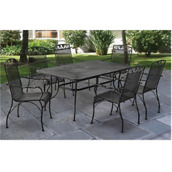 Outdoor Dining Set Wrought Iron Chairs Table Patio Garden Furniture 7 Piece