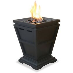 Gas Propane Fire Pit Table Top Outdoor Patio Backyard Heater Fireplace Black New