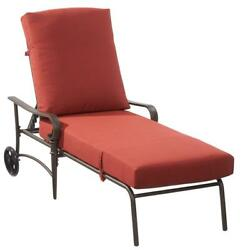 Hampton Bay Oak Cliff Metal Reclining Outdoor Chaise Lounge with Chili Cushions