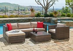 6 Pcs Outdoor Sofa and Table Sectional Set Outdoor Furniture Chair All-Weather