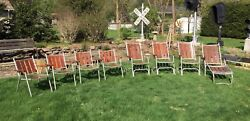 Qty 8 Vintage Redwood Wood &Aluminum Patio Set Folding Lawn Chair Rocker Lounge