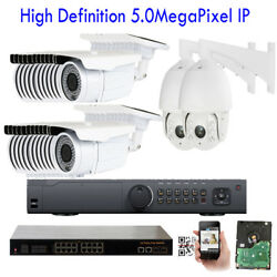 32CH Network NVR 5MP 1920P PoE IP ONVIF Outdoor PTZ Security Camera 5TB System