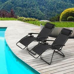 Ollieroo 2-Pack Black Zero Gravity Lounge Chair with Pillow and Utility Tray...