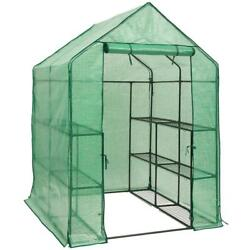 DOEWORKS Walk-in Plant Greenhouse with PE Cover 3-Tier 12-Shelf Garden...