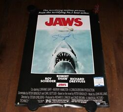 DIRECTOR STEVEN SPIELBERG SIGNED JAWS 24x36 FS FULL SIZE MOVIE POSTER COA PROOF