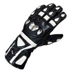 Winter Leather Gloves Motorcycle Motorbike Racing Thermal Protection White Black $21.99