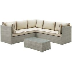 Repose 6 Piece Outdoor Patio Sectional Set Outdoor Furniture Sofa Sectionals 100