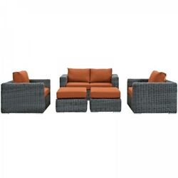 Modway EEI-1893-GRY-TUS-SET Summon 5 Piece Outdoor Patio Sectional Set In Sunbre