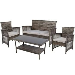Sofa Table Outdoor Patio Garden Cushioned Cover Bench Chair Seat Furniture Set