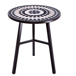 Outdoor Bistro Table Natural Mosaic Patio Lawn Deck Balcony Furniture Iron Brown