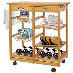Wood Kitchen Storage Island Cart Dining Trolley Basket Stand Counter Top Table