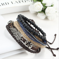 1pcs Men Alloy Handmade Multilayer Wrap Leather Braided Cuff Wristband Bracelet