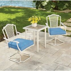 Patio Furniture Metal Outdoor Bistro Garden Set Chairs Table Cushions White 3 Pc