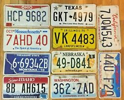 Pack of 10 Craft Condition License Plates from 10 States for Art Projects