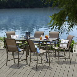 Outdoor Dining Set Patio High Chairs Table Glass Top Garden Furniture 7 Piece