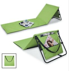 Portable Green Beach Lounge Chairs With Pockets Carry Straps Washable (Set Of 2)