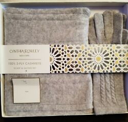 Cynthia Rowley New York 100% 2 Ply Cashmere Scarf and Gloves Set Grey