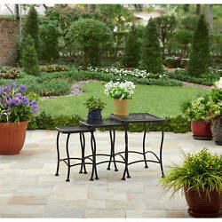 Outdoor Side And Accent Nesting Tables Patio Deck Porch Furniture Wrought Iron