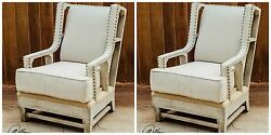 PAIR HOME DECOR RUSTIC FARMHOUSE HIGH BACK WING ACCENT CHAIR WESTERN