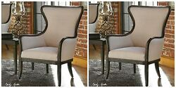 PAIR CLASSIC FARMHOUSE HOME DECOR WING HIGH BACK ACCENT CHAIRS