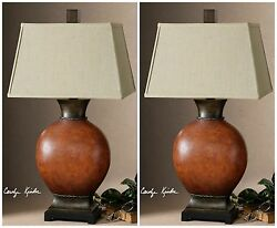 PAIR HOME TABLE DECOR CABIN LODGE WESTERN TABLE LAMPS