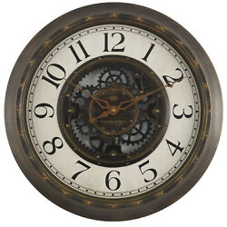 Gears 16quot; Large Brushed Oil Rubbed Bronze Wall Round Wall Clock Quartz NEW $24.89