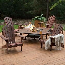 FACTORY NEW Patio Outdoor Solid Wood Oak Adirondack Fire Pit Dining Set