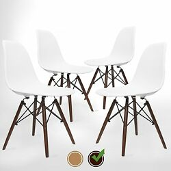 White Dining Chairs Set of 4 Compy Molded Modern Office Armless Side Chair