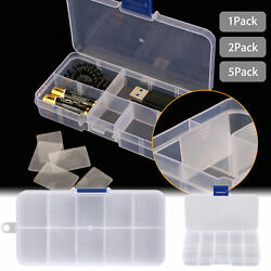 Small Clear Plastic 10-Slot Separable Jewelry Fishing Hook Storage Box Organizer