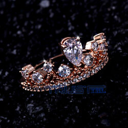 USA Fashion Rose Gold Plated Zircon Engagement Promise Women Ring Size 6-10