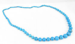 Vintage Jewelry Turquoise Blue Sky Color Necklace Round Beads 34quot; $39.00