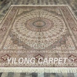 Yilong 8'x10' Handknotted Silk Persian Carpet Oriental Durable Vtg Rug LH176A