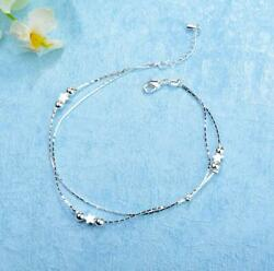 Womens Silver SP Ball Star Ankle Bracelet Double Chain Foot Anklet $8.99