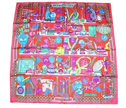 """Hermes Scarf Les Trophees Red Silk 90 cm Carre 35"""" inch Shawl Stole YA22"""