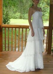 NWT Ivory Wtoo Empire waist Tiered lace Wedding Dress wsilver accent (size 6) $525.00