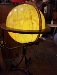 Antique Rand McNally and Co. Terrestrial Illuminated Globe On Floor Stand