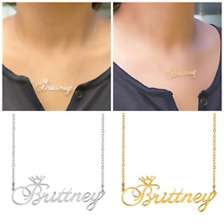 Personalized Sterling Silver Gold Any Name Plate Script Chain Necklace w Crown