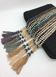 Fashion M-knotted crystal necklace w crystal tassel pendant woman jewelry