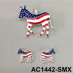 Silver Finish Democrat Party Red Blue Donkey Pendant with Earrings Set $10.99