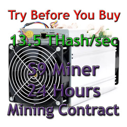 Antminer S9 rental 24 hours 13.5Ths mining contract. Lease Sha256. Bitcoin BTC. $3.59
