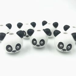 10pcs Wooden Round panda Loose Beads Beaded Baby Pacifier Clip making
