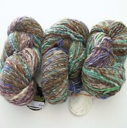 Yarn Wool Silk Cashmere 3 Hanks Noro Transitions 396y Bulky Purple Blue Brown