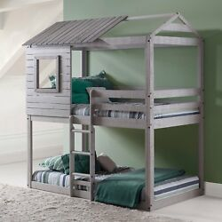 Kids Loft-Style Twin Bunk Bed Light Grey Bedroom Furniture Rustic Treehouse