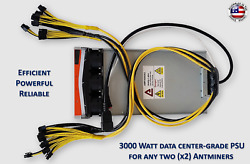True 3000 Watt Mining Power Supply For Any Two 2x Antminers Avalons $124.95