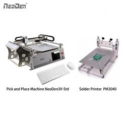 SMT Pick and Place Machine with 2 Cameras 23 Feeders+Solder Printer