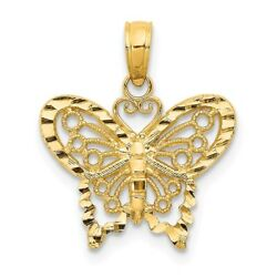 14K Yellow Or White Gold Polished Butterfly Pendant With Accented Border