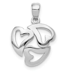 14K Yellow Or White Gold Polished Three Open Hearts Pendant
