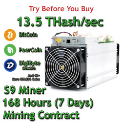 Antminer S9 Rental. 13.5Th Guaranteed One Week Mining Contract Lease SHA256 BTC $77.34
