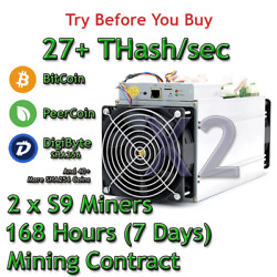 2 x S9 Bitmain Antminers 27 THs Guaranteed One Week Mining Contract SHA256