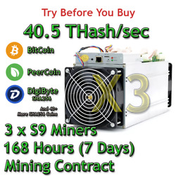 3 x S9 Bitmain Antminers 40.5 THs Guaranteed One Week Mining Contract SHA256